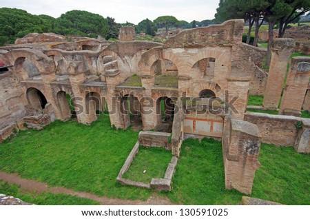 Roman ruins in Ostia Antica, near Rome - stock photo