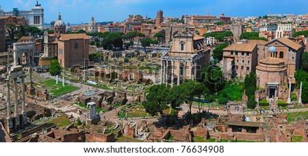 Roman ruins in Rome - stock photo