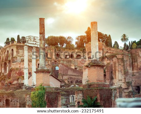 Roman ruins in Rome, Forum. Italy - stock photo