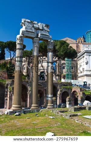 Roman ruins in Rome, Italy - stock photo
