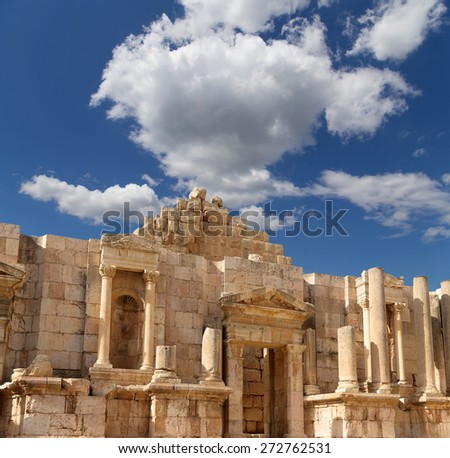 Roman ruins in the Jordanian city of Jerash (Gerasa of Antiquity), capital and largest city of Jerash Governorate, Jordan
