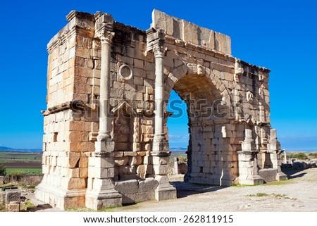 Roman ruins in Volubilis, Meknes Tafilalet, Morocco - stock photo