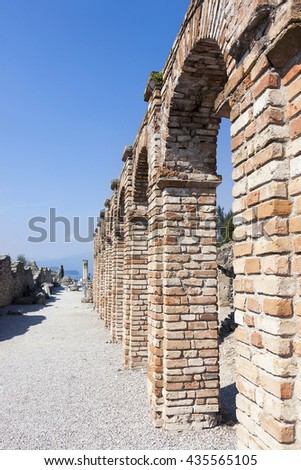 roman ruins of catullo caves on lake garda italy - stock photo