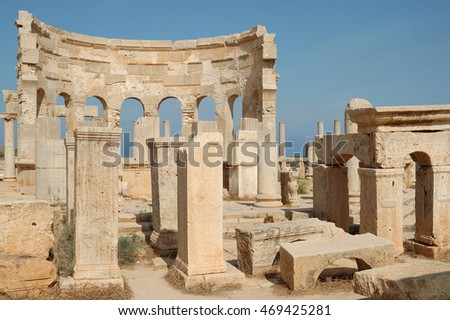 Roman ruins of the city of Leptis Magna, Libya