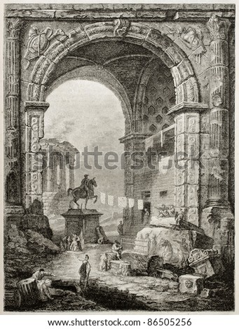 Roman ruins old view, after picture of Robert Huber kept in Louvre museum. By unidentified author, published on Magasin Pittoresque, Paris, 1843 - stock photo