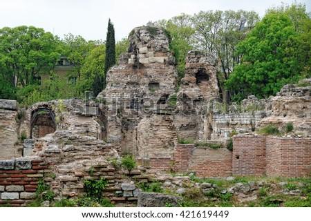 Roman ruins. The Old Roman Baths of Odessos, Varna, Bulgaria - stock photo