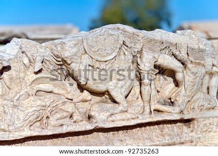 Roman sarcophagus relief detail in Ephesus (Efes) from Roman time in Turkey.