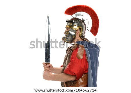 Roman soldier's profile holding a sword isolated on a white background