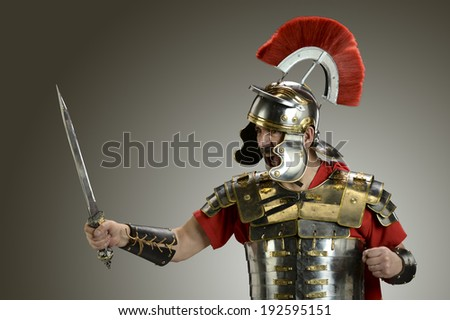 Roman Soldier with sword ready for war