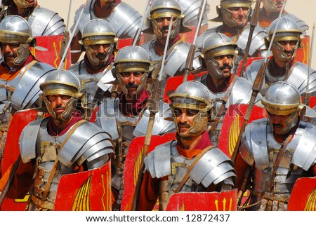 Roman soldiers during Roman show in Jerash, Jordan - stock photo