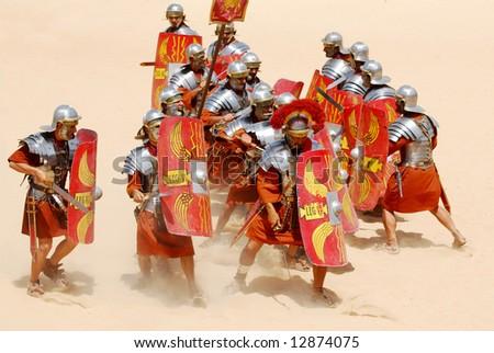 Roman soldiers fighting during Roman show in Jerash, Jordan - stock photo