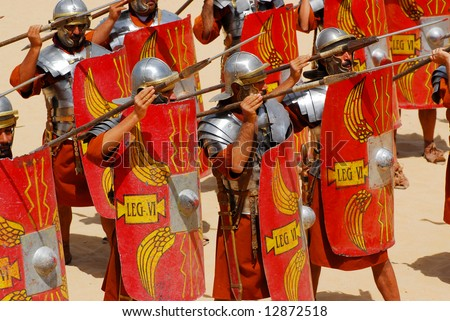 Roman soldiers fighting with spears during Roman show in Jerash, Jordan - stock photo