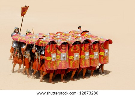 Roman soldiers in defence position during Roman show in Jerash, Jordan - stock photo