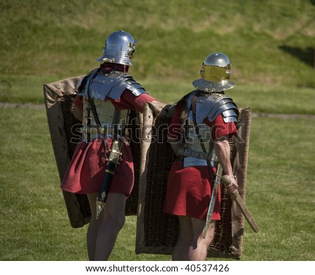 roman soldiers training - stock photo