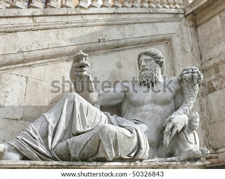 Roman statue. Capitolini Museums. Rome. Italy. More of this motif & more Rome in my port. - stock photo