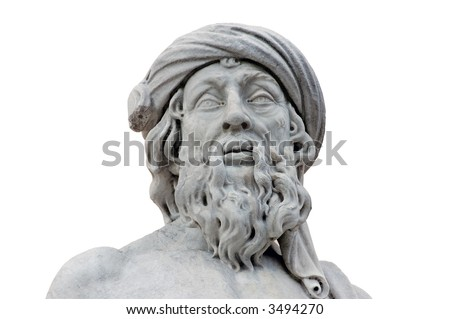 Roman statue isolated over white background - stock photo