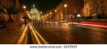 Roman street - Saint Peters Basilica - stock photo