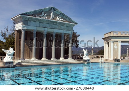 roman style swimming pool in the mountains of california - stock photo