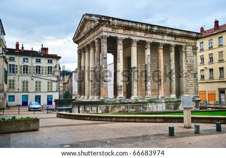 Roman temple of Augustus in Vienna, Lyon, France - stock photo