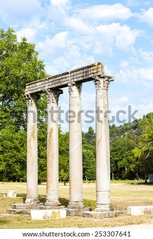 Roman Temple, Riez, Provence-Alpes-Cote d'Azur, France - stock photo