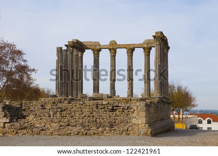 Roman temple to Diana and cathedral tower of Evora, Portugal. - stock photo