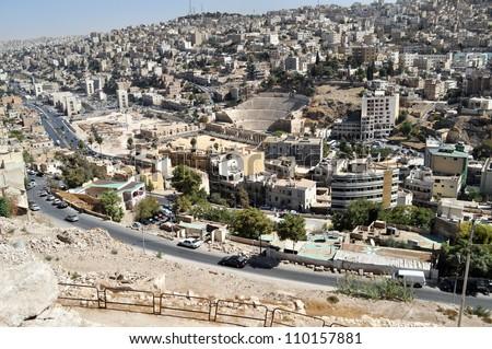 roman theater in amman, jordan - stock photo