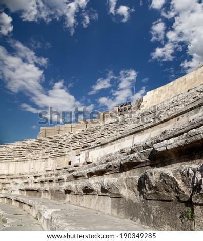 Roman Theatre in Amman, Jordan -- theatre was built the reign of Antonius Pius (138-161 CE), the large and steeply raked structure could seat about 6000 people