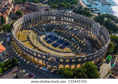 Roman time arena in Pula, detail, Croatia. UNESCO world heritage site. - stock photo