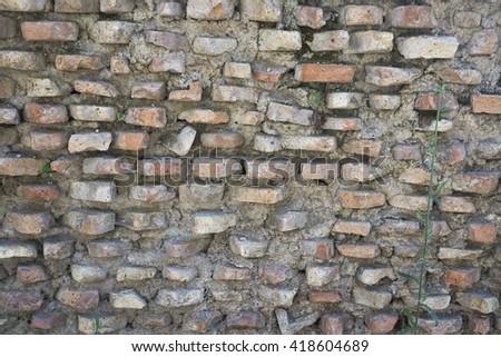 Roman time brick wall  background - stock photo