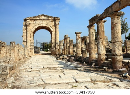 Roman Triumphal Arch, Tyre- Lebanon - stock photo