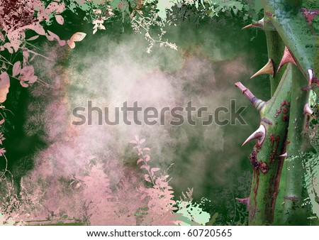romance background with rose thorns - stock photo