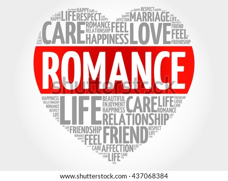 romance concept heart word cloud stock illustration 437068384