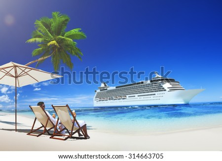 Romance Couple at the Sea Relaxation Concept - stock photo