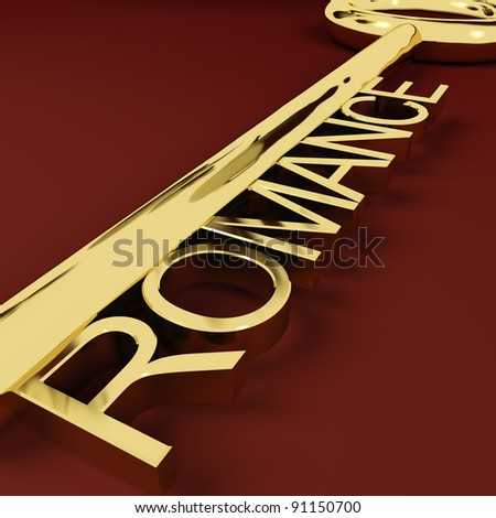 Romance Gold Key Representing Love And Feelings