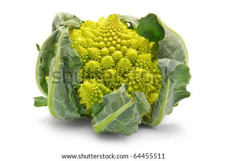 Romanesco broccoli cabbage (or Roman Cauliflower) isolated on white background - stock photo
