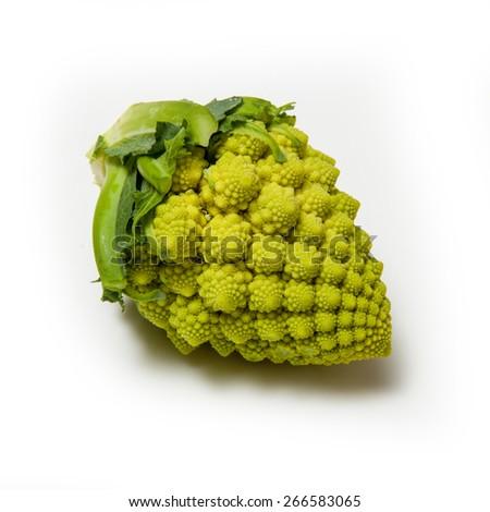 Romanesco broccoli isolated on a white studio background. - stock photo