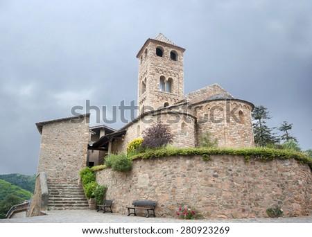 Romanesque church of Espinelves.Catalonia.Spain - stock photo