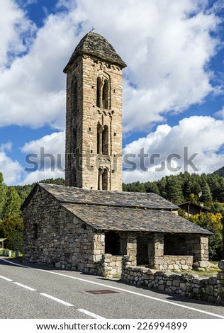 Romanesque church Sant Miquel d Engolasters whose main architectural feature is the bell tower, with stories having mullioned windows and Lombard archs. Andorra, UNESCO World Heritage Site - stock photo