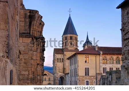 romanesque Cluny church in Burgundy, France - stock photo