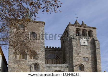Romanesque-Gothic Se (Cathedral) of Evora, Portugal - stock photo