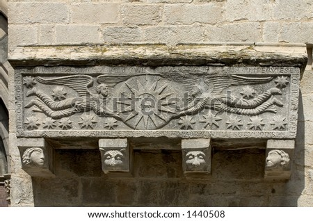 romanesque sarcophagus in Girona cathedral,Catalonia ,Spain