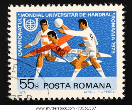 ROMANIA - CIRCA 1975: a stamp from Romania shows image commemorating the World Universities Handball Championships 1975, circa 1975