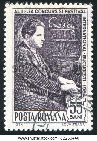 ROMANIA - CIRCA 1964: A stamp printed by Romania, shows Enescu at piano, circa 1964.