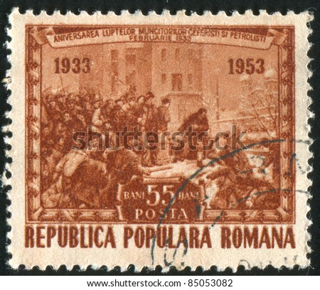 ROMANIA - CIRCA 1953: A stamp printed by Romania, shows Strike at Grivita, Painted by Miclossy, circa 1953
