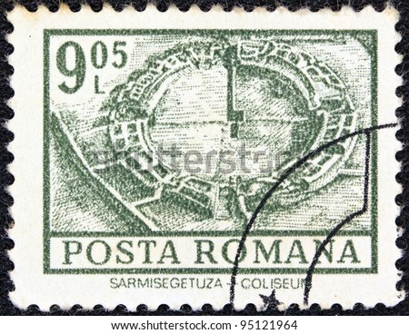 "ROMANIA - CIRCA 1972: A stamp printed in Romania from the ""Definitives I - Buildings"" shows Coliseum, Sarmisegetuza, circa 1972."