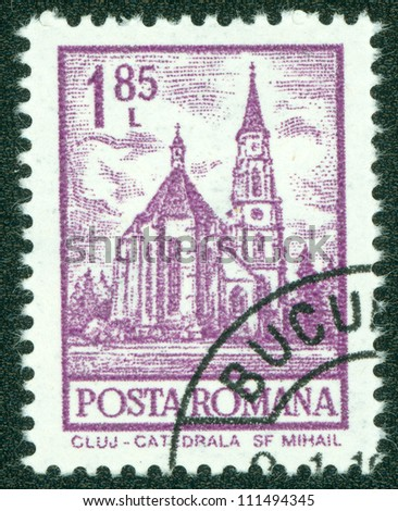"ROMANIA - CIRCA 1972: A stamp printed in Romania from the ""Definitives I - Buildings"" shows St. Mihail Cathedral, Cluj, circa 1972."