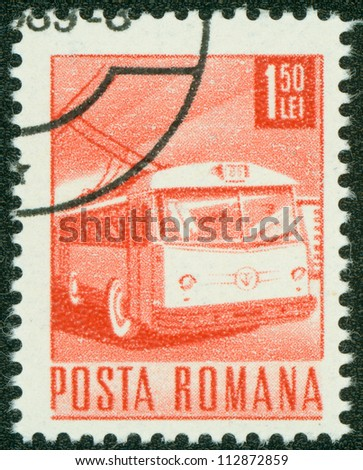 ROMANIA - CIRCA 1967: A stamp printed in Romania shows a Trolley bus, circa 1967.