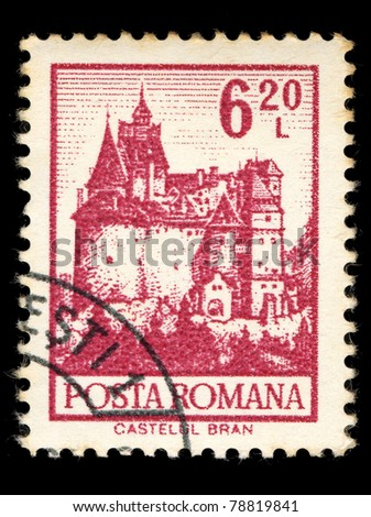 ROMANIA - CIRCA 1981: A stamp printed in Romania shows Bran Castle, circa 1981