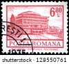 """ROMANIA - CIRCA 1972: A stamp printed in Romania shows Bucharest Polytechnic complex, with the same inscription, from the series """"Buildings"""", circa 1972 - stock photo"""