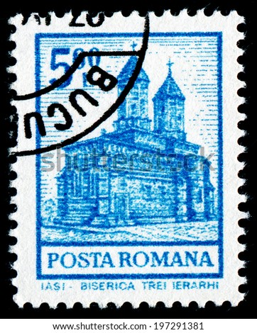 ROMANIA - CIRCA 1972: A stamp printed in Romania shows Church of the Epiphany, Iasi, circa 1972 - stock photo